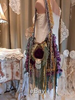 Épaule À La Main Sac Vintage Fringe Dentelle Boho Tissu Gypsy Hippie Porte-monnaie Tmyers
