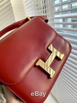 Fabulous Hermes Vintage Box Cuir Constance Rouge H Rouge