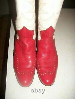 Femelle Vintage Griffith Blucher Rouge & Blanc & Etoiles Bottes Cowboy 7 B