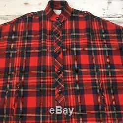 Femmes Cape Cape Pendleton Poncho Laine Plaid Rouge Vert XL Vintage Veste Manteau