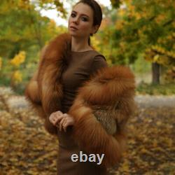 Femmes Real Red Fox Fur Coat Winter Vintage Whole Skin Warm Épais Veste Pardessus