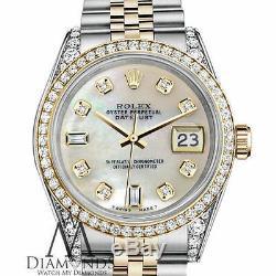 Femmes Rolex Datejust 36mm 2 Tone Blanc Mop Nacre 8 + 2 Diamond Dial