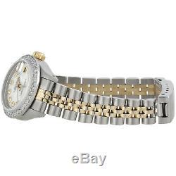 Femmes Rolex Diamond Watch Mop Dial 6917 Datejust 18k / Steel Jubilee Band 1 Ct