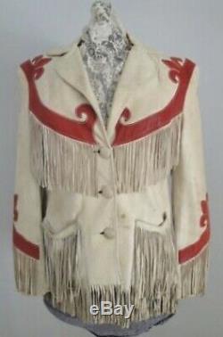 Femmes Suede Crème En Cuir Fringe Western Native American Style Veste De Cow-boy