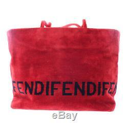 Fendi Logos Épaule Sac À Main Rouge Velour Italie Vintage Authentique # W508 W