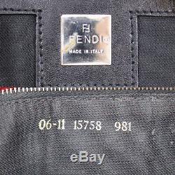 Fendi Logos Tote Sac À Main Rouge En Velours Noir Italie Vintage Authentique # Kk292 O