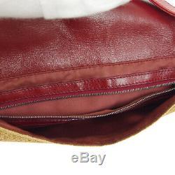 Fendi Sac À Main Maman Baguette Bourse Beige Rouge Lin Cuir Vintage Italie A46901