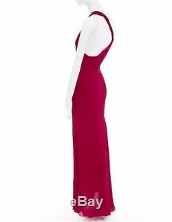 Gianni Versace Robe De Robe Dos Nu Vintage De Torsion De Soie Rouge Frisolée It40 S