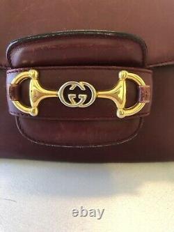Gucci 1955 Sac À Épaule Horsebit Vintage 1980's Red Leather One Propriétaire Authentique