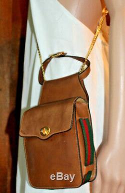 Gucci Brown Vert Red Stripe Ceinture Bandoulière En Cuir Wistlet Sac Purse Vintage