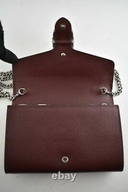Gucci Dionysus Vintage Bordeaux En Cuir Rouge Wallet En Argent Sur La Chaîne Crossbody Sac