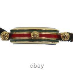 Gucci Femme Montre Bracelet Quartz Green Leather Strap Vintage Authentic #uu260 O