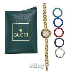 Gucci Montre-bracelet À Quartz Changement Bezel Gold Swiss Vintage Authentique # Mm59 O