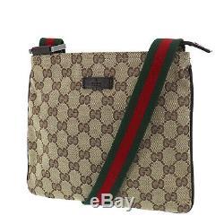 Gucci Original Gg Canvas Web Stripe Sac À Bandoulière Beige Vintage Auth # Mm771 O