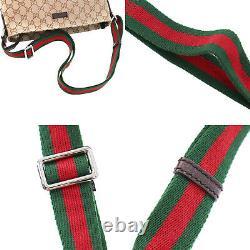 Gucci Original Gg Canvas Web Stripe Sac À Bandoulière Beige Vintage Auth #kk103 Y
