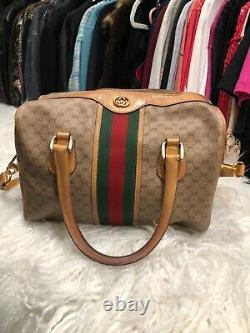 Gucci Sac De Médecin Vintage Brun Moyen, Vert Et Rouge Grande Condition Utilisée