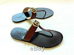 Gucci T-strap Femmes Marmont Vintage Bordeaux Cuir String Taille Sandal 37.5