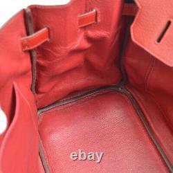 Hermes Birkin 35 Sac À Main 1014i Sac À Main Red Fjord Leather Vintage 41126