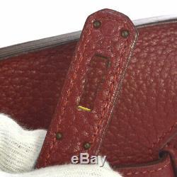 Hermes Birkin 35 Sac À Main Sac À Main Rouge Traurillon Clemence Y 4x Vintage Ak37188