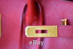 Hermes Birkin, Vintage 40cm Rouge Avec Le Matériel D'or À Courchevel Cuir