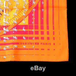 Hermes Faubourg Echarpe Étole Orange Seconde Soie Vintage Y03722g