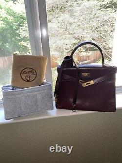 Hermès Kelly 28 Retourne Bordeaux Box Vintage (avec Sangle, Sac À Poussière & Organisateur)