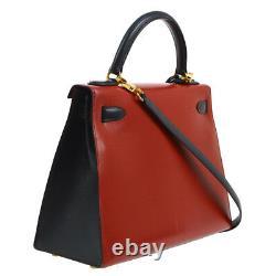 Hermes Kelly 28 Sellier 2way Hand Bag Tri-color Box Calf Vintage K08407b