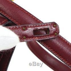 Hermes Mini Kelly Sac À Bandoulière O Z Bourse Bordeaux Boîte Veau Vintage Auth K08697