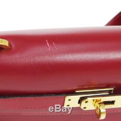 Hermes Mini Kelly Sac À Bandoulière Q Bourse Rouge Boîte Veau Vintage Authentique A48030