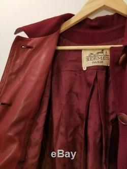Hermes Rare Vintage Femmes Paris Maroon Manteau Taille S