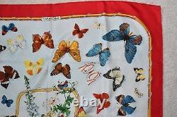 Hermes Vintage 1985 Farandole Papillon Imprimé Écharpe De Soie Rouge