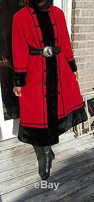 Hooded Pleine Longueur Vintage Mélange De Laine Princesse Russe Et Manteau Noir Garniture S-8