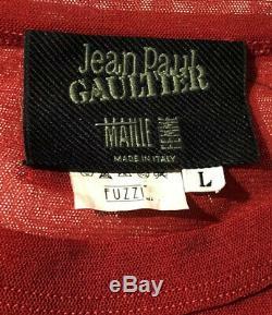 Jean Paul Gaultier Vintage Vtg Rare Red Mesh Top Broderie Eye Lip Applique