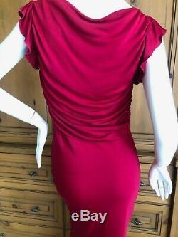 John Galliano Vintage Rouge Robe De Soirée Avec Volantée Keyhole Détails Taille S