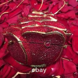 Judith Leiber Red Rose Swarovski Crystal Gold Minaudière Pochette Vintage Sac À Main