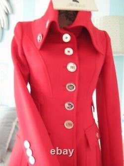 Karen Millen Stunning Vintage Red Riding Coat Taille Rare 14