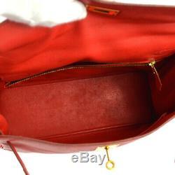 Kelly 32 Retourne Hermes Sac À Main Rouge Gulliver Z Vintage Veau Nr14571