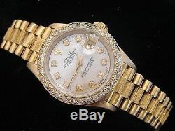 Lady Rolex Datejust En Or Jaune 18 Carats Président Bark Withmop Dial Diamond Bezel 1ct