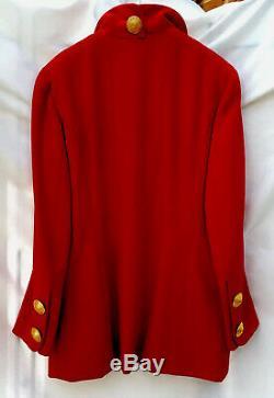 Laine Chanel Red Coat Vintage Veste CC Logo Grands Boutons Taille 42