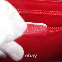 Logos Celine 2way Hand Bag M92 Sac À Main Red Leather Vintage Italy Authentic 30652