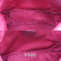 Logos Prada Hand Bag Nylon Rouge Made In Italy Vintage Authentic #ac350 O