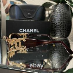 Lunettes De Soleil Vintage Chanel 4023 Cadres Marons D'or Lunettes De Vue Very Rare