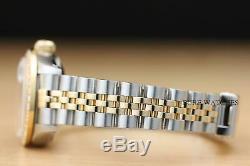 Mesdames Rolex Authentique Quickset Deux Tons Or Jaune 18 Carats Et Diamants Montre En Acier
