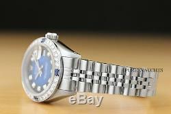 Mesdames Rolex Bleu Diamant Vignette Saphir Datejust En Or 18 Carats Et Montre En Acier