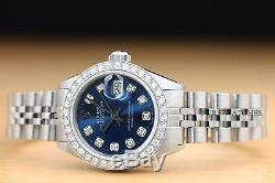 Mesdames Rolex Blue Diamond Cadran Datejust En Or Blanc 18 Carats Et Montre En Acier Inoxydable