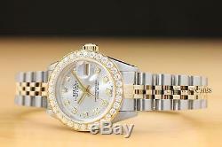 Mesdames Rolex Datejust 1,13 Ct Argent Diamant Or Jaune 18 Carats Et Montre En Acier