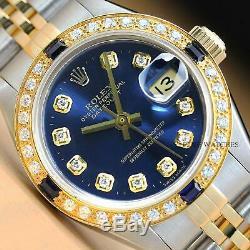 Mesdames Rolex Datejust 2 Tons Saphir Diamant Or Jaune 18 Carats Et Montre En Acier