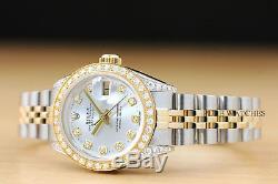 Mesdames Rolex Datejust Argent Diamond, Lunette Et Or Jaune 18 Carats Cosses / Montre En Acier