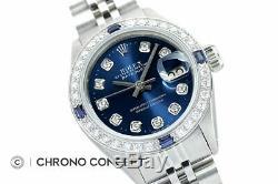 Mesdames Rolex Datejust Blue Diamond Cadran En Or Blanc 18 Carats Et Montre En Acier Inoxydable