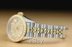 Mesdames Rolex Datejust Champagne Dial Diamond 18k Or Jaune Montre En Acier